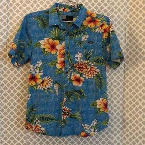 O'Neill tropical floral skulls button down shirt